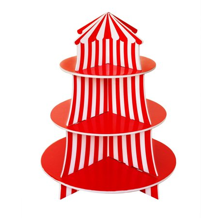 3 Tier Cupcake Foam Stand with Circus Carnival Tent Design by Super Z Outlet
