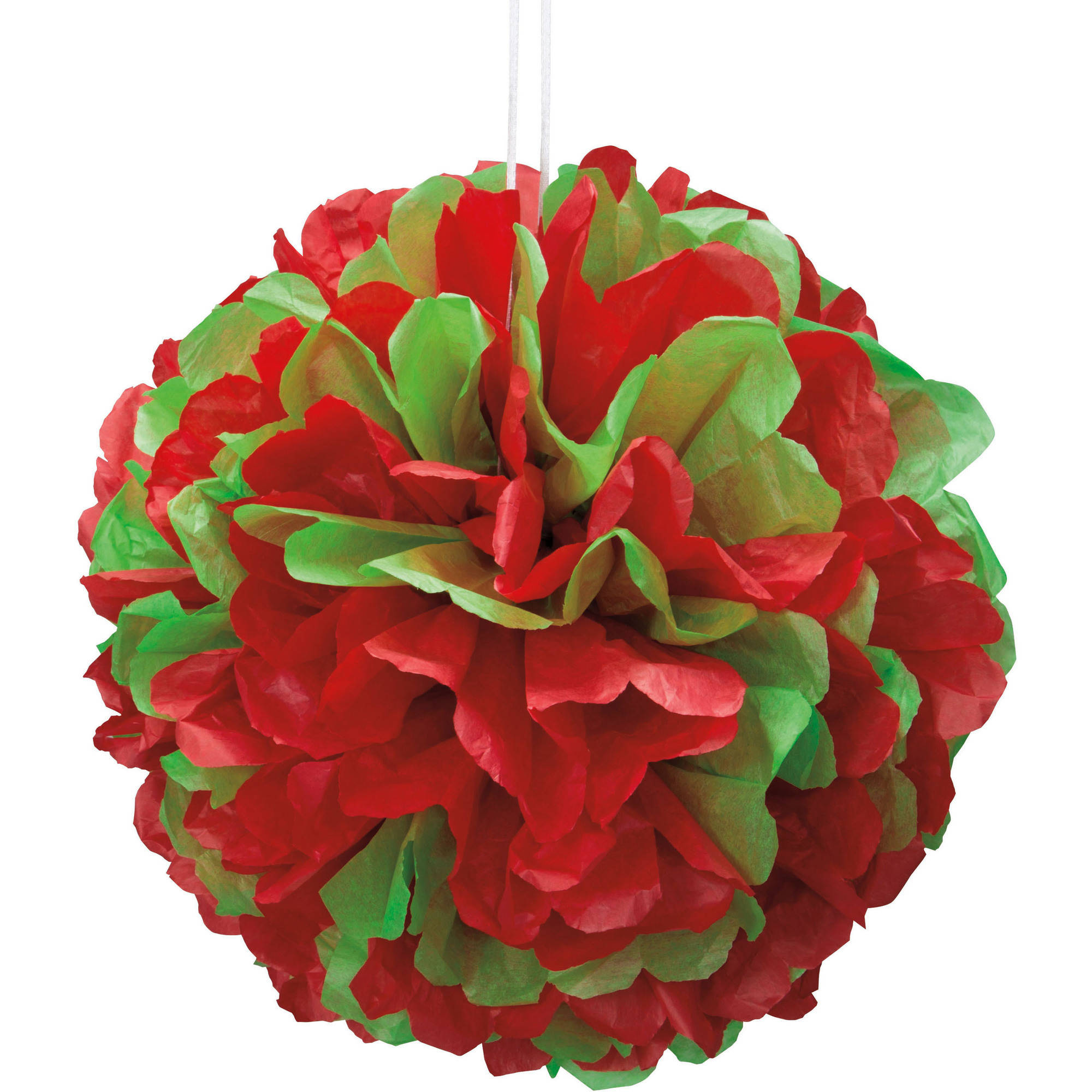 "14"" Red & Green Christmas Tissue Paper Pom Pom"