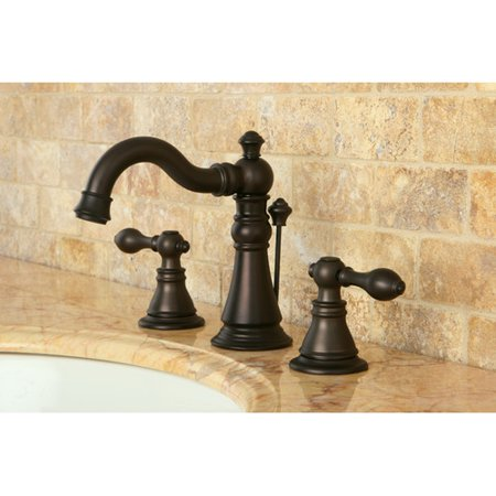Bronze Ashfield Drain Assembly - Kingston Brass American Classic Widespread Bathroom Faucet with Drain Assembly