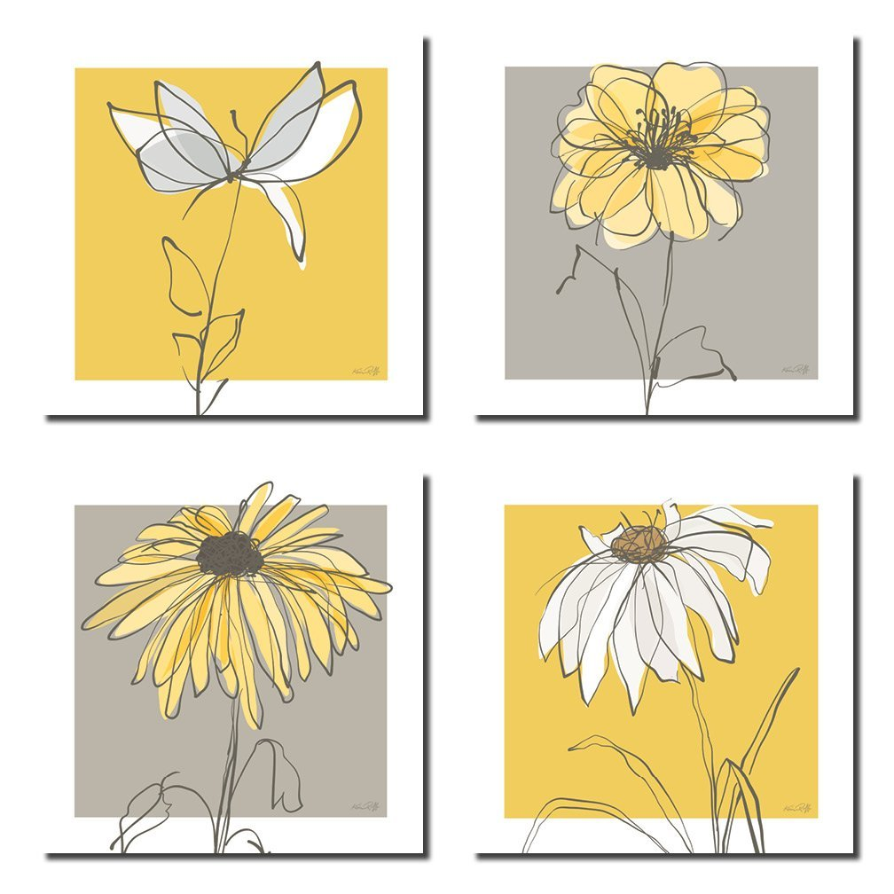 Beautiful Grey & Yellow Flower Prints; Four 8x8in Unframed Poster Prints