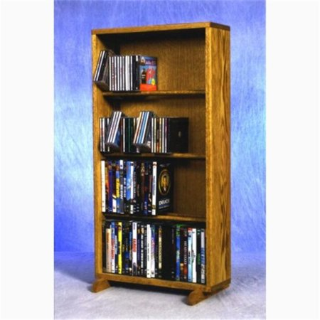 Wood Shed 415-18 Combo Solid Oak 4 Row Dowel CD-DVD Cabinet Tower