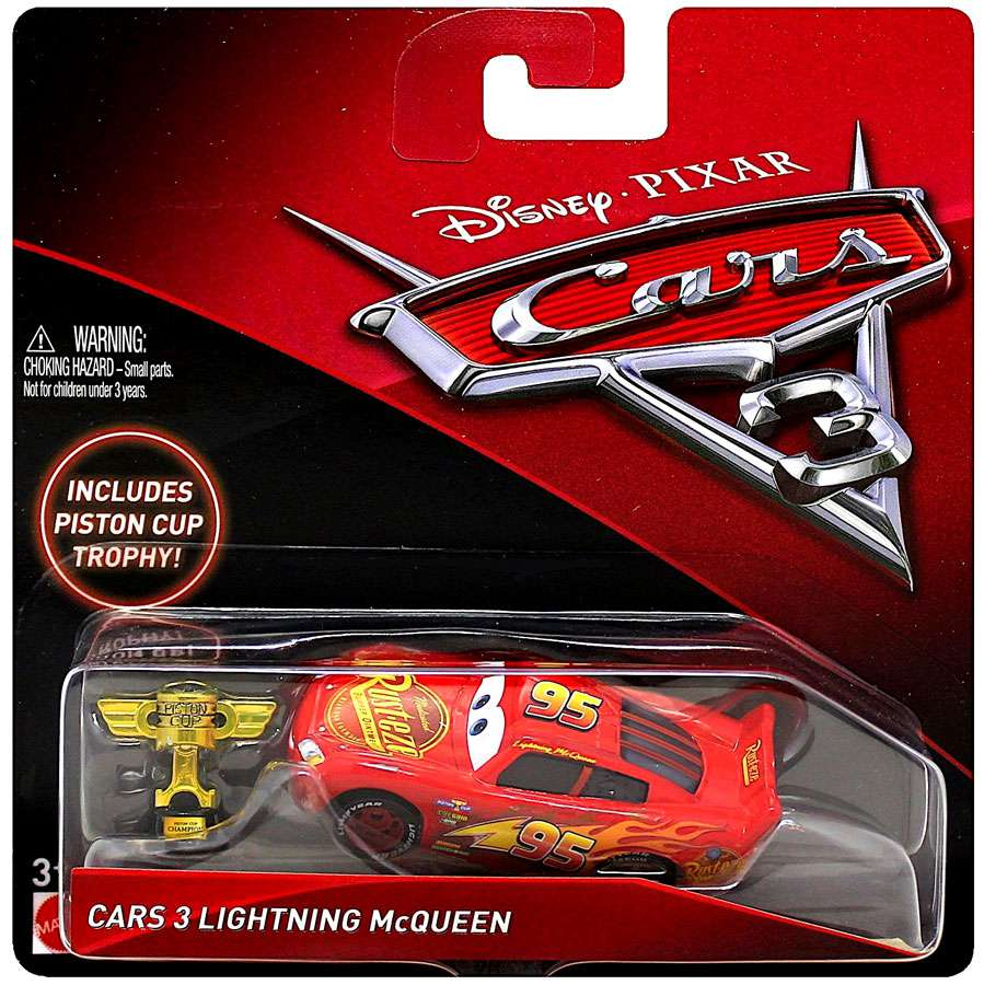 Disney Cars Cars 3 Lightning Mcqueen Diecast Car With Piston Cup