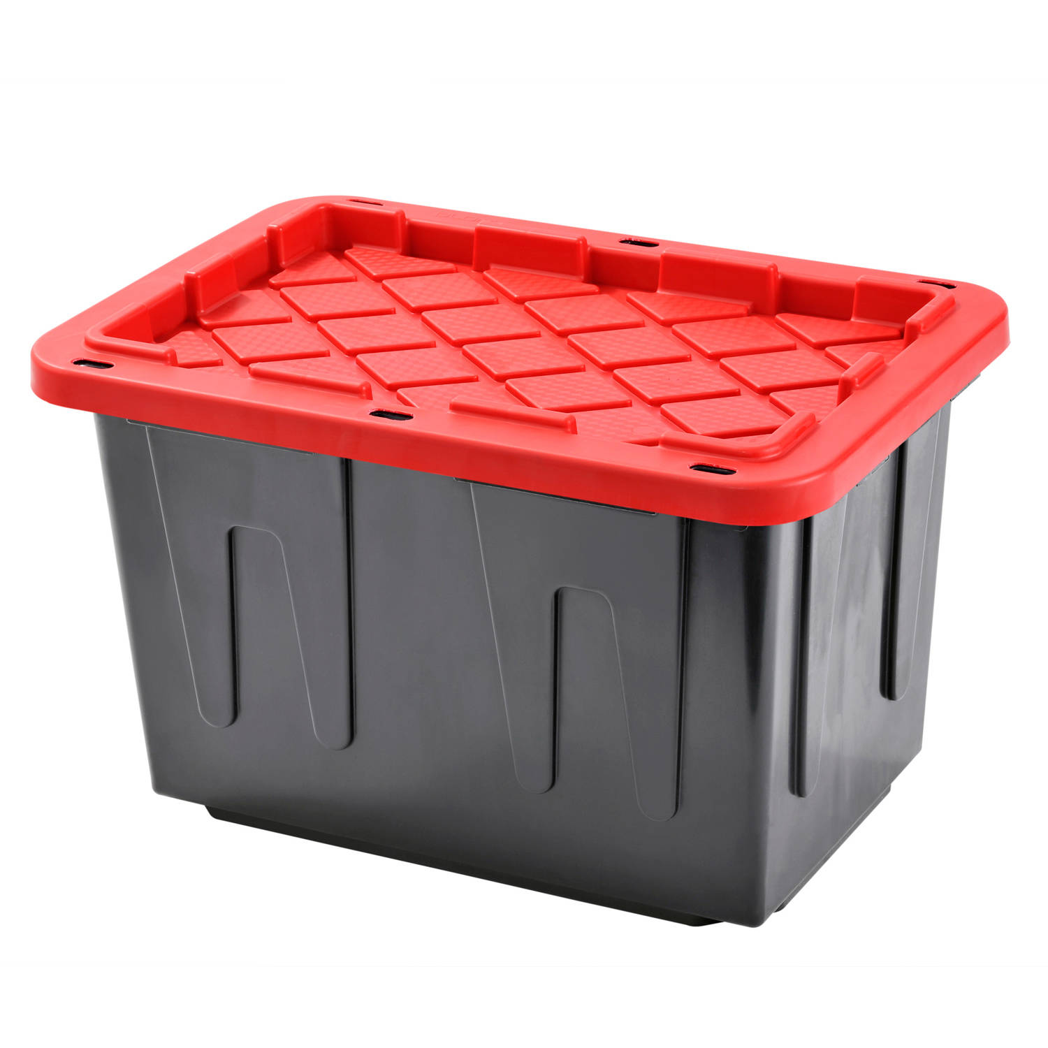 Plastic Heavy Duty Storage Tote Box, 23 Gallon, Black with Red Snap Lid, Stackable, 4-Pack