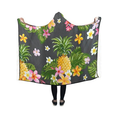 HATIART Hooded Blanket Pinapples And Tropical Flowers Pilling Polar Fleece Wearable Blanket Throw Blanket 40x50 Inches - image 2 de 2