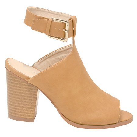 Tan Peep Toe (Soho Adult Tan Buckle Strap Peep Toe Block Heel Bootie Sandals )