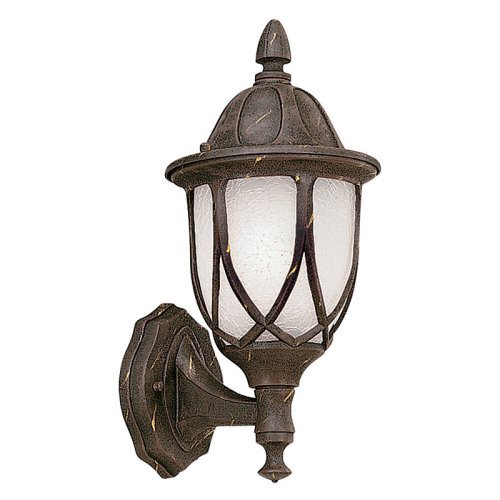 Designers Fountain Capella Motion Detector - One Light Outdoor Wall Lantern, Autumn Gold Finish with Satin Crackled Glass
