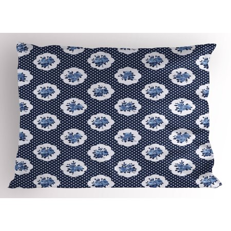 Shabby Chic Pillow Sham Feminine Pattern with Curvy Frames Motifs ...