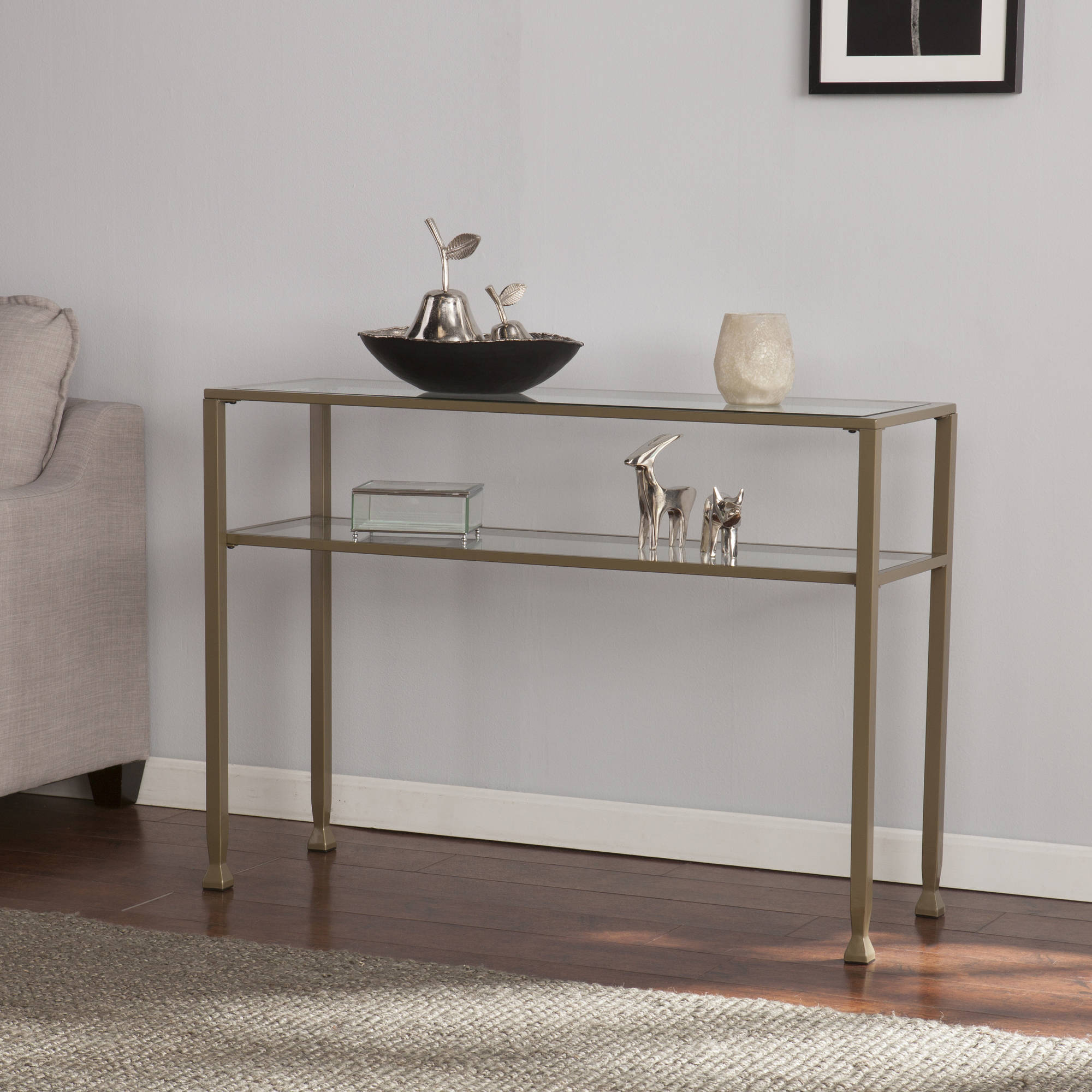 southern enterprises lana metalglass console table matte gold