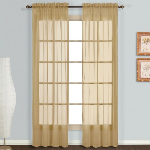Monte Carlo Sheer Rod Pocket Curtain Pair - Bronze