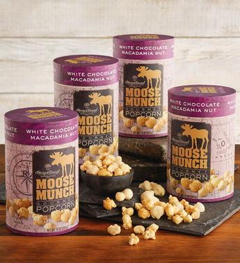 Moose Munch White Chocolate Macadamia Nut Premium Popcorn Tins by Harry & David (4 Pack)
