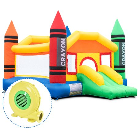 Costway Inflatable Crayon Bounce House Castle Jumper Moonwalk Bouncer w/ 480W Blower