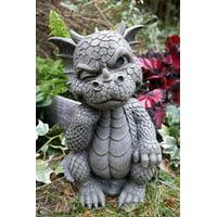 "Ebros Le Penseur The Thinker Whimsical Garden Dragon Statue 10"" H Cute Baby Dragon Winking Eye Faux Stone Resin Finish Figurine"