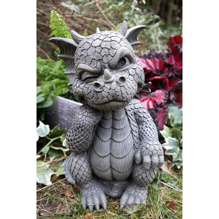 "Ebros Le Penseur The Thinker Whimsical Garden Dragon Statue 10"" H Cute Baby Dragon Winking Eye Faux Stone Resin Finish Figurine"