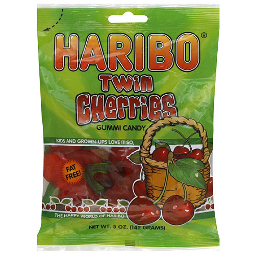 Haribo Twin Cherries Fruit Gummies, 5 oz (Pack of 12)