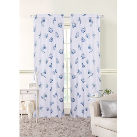 Mainstays Seashell Toss Window Curtains Set Of 2