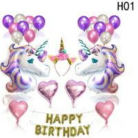KABOER Unicorn Balloons Latex Foil Balloons Birthday Party Decor Supplies Set Item