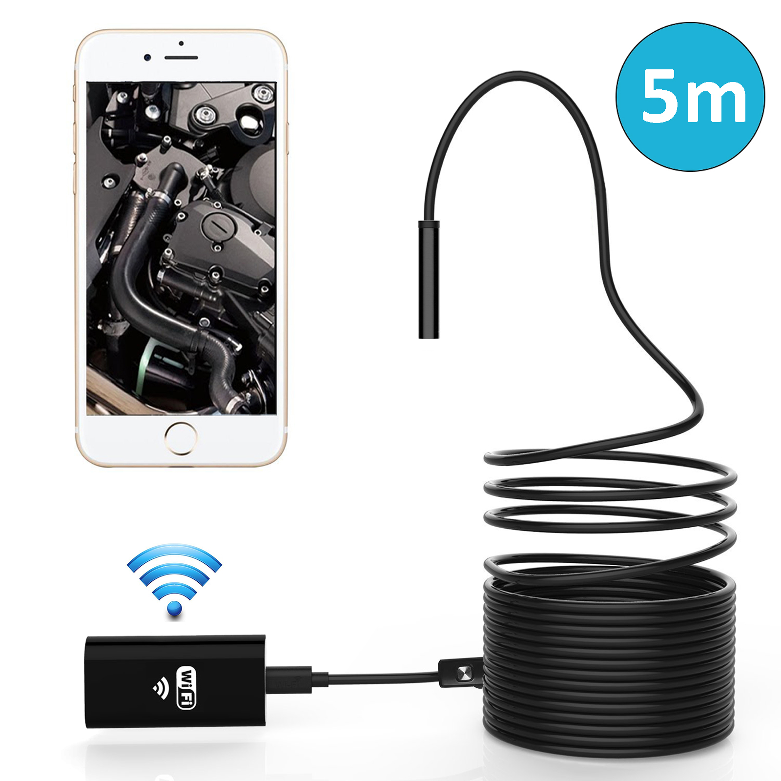 Wireless Endoscope, EEEKitl WiFi Borescope Inspection Camera Waterproof HD 6LED Snake Camera for Android and IOS Smartph