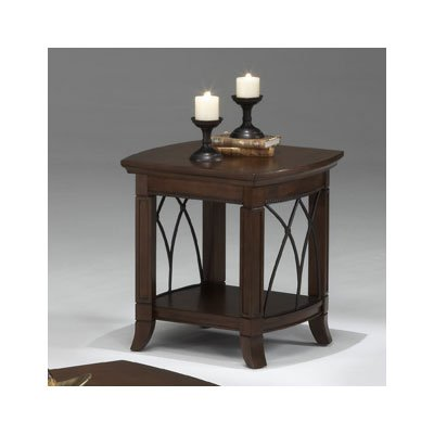 Bernards Cathedral Cherry with Metal End Table