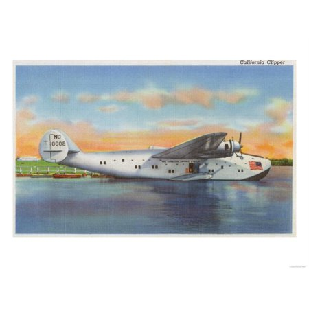 View of the California Clipper Plane - San Francisco, CA Print Wall Art By Lantern