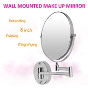 Excelvan Chrome Round Base Wall Mounted 8 Inches Cosmetic Make Up Shaving Bathroom Mirror 10 x Magnification