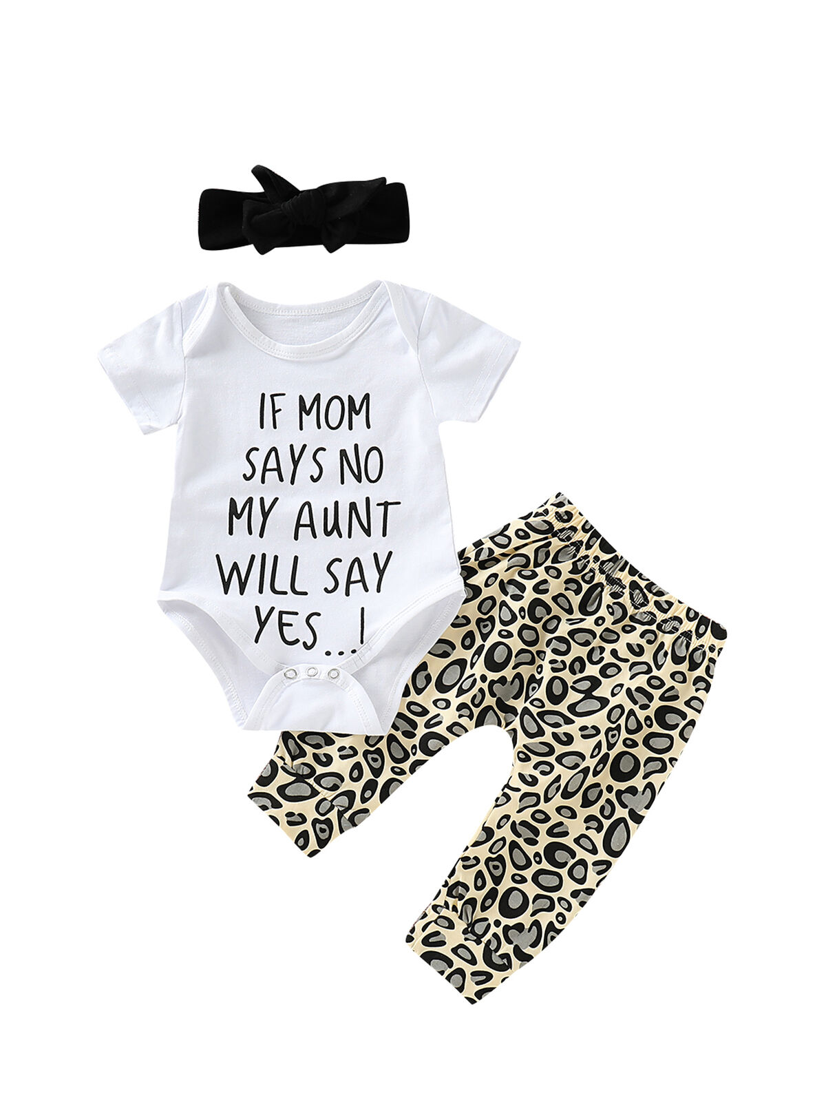Infant Baby Girls Clothes Mommy Sayings Outfit Set Summer Bodysuit Leopard Pant with Headband