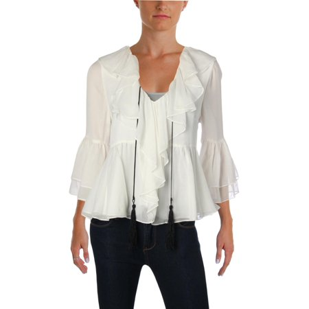 Ivory Silk Blouse - Cinq a Sept Womens Pacifique Silk Bell Sleeves Blouse Ivory XS