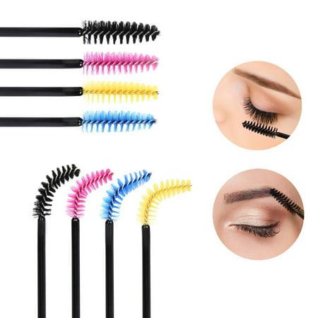 KEDSUM 200 Pieces Multicolor Disposable Mascara Wands Eyelash Brushes Eye Lash Applicators Makeup Brush Kit
