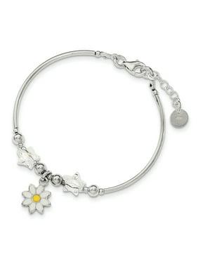 Primal Silver Sterling Silver Children's Enamel Swarovski Elements with 0.75-inch Extension Bracelet