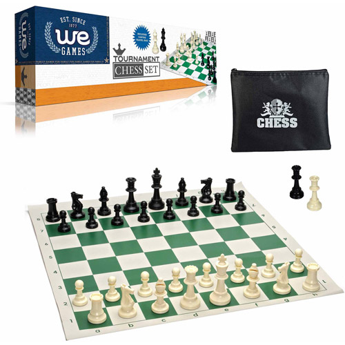 "Tournament Chess Set with Bag for Chessmen, Staunton Pieces with 3.75"" King and Green Roll-Up Board"