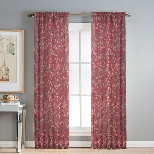 Pinehurst Printed Sheer Extra Wide 54 x 84 in. Rod Pocket Curtain Panel