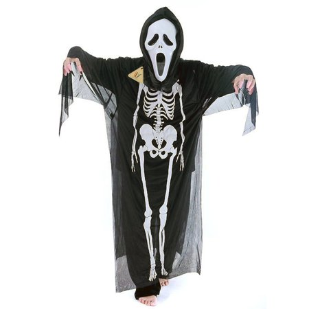 Adult Black Skeleton Skull Evil Devil Ghost robe Scream Mask - Costume (Scream Mask For Sale)