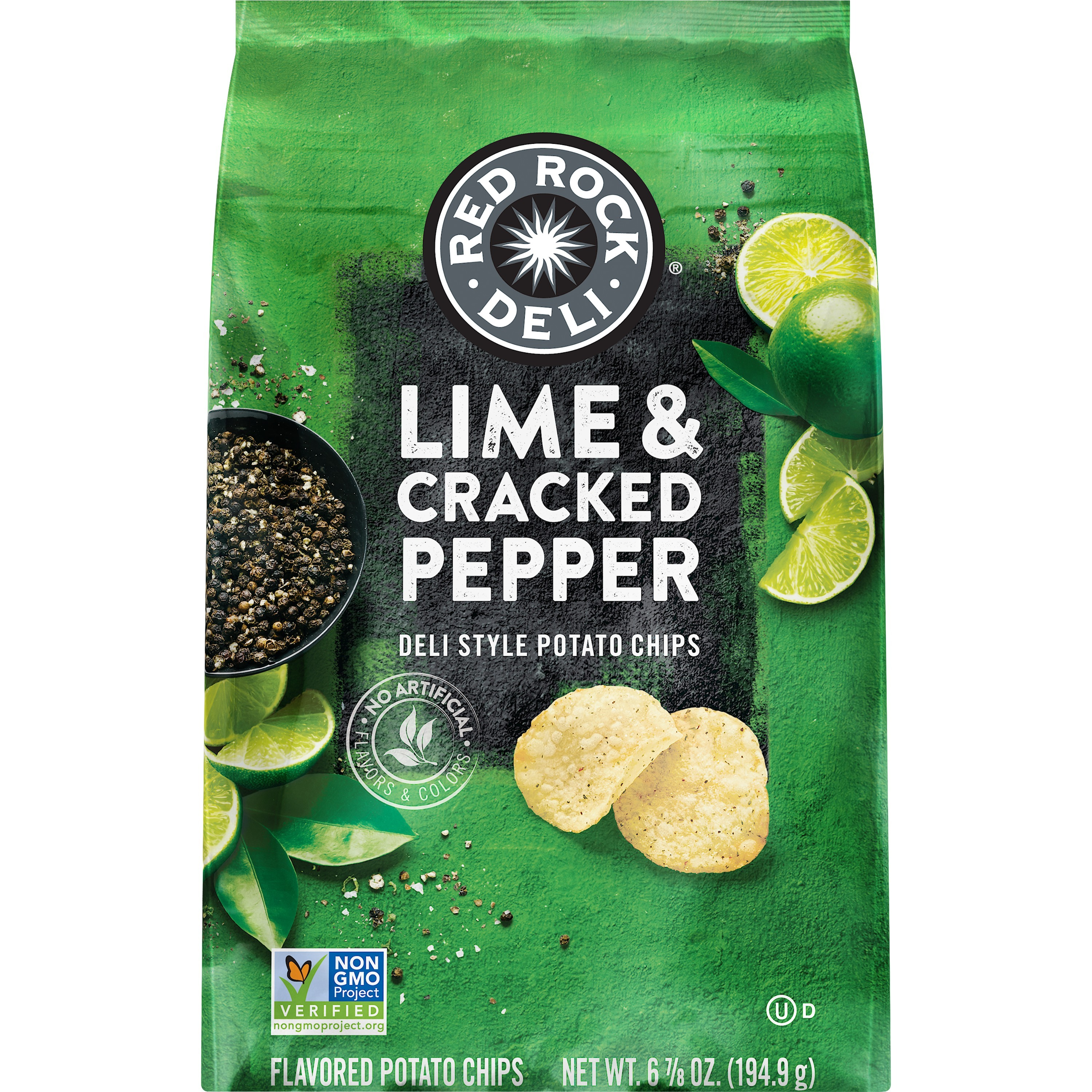 Red Rock Deli Potato Chips, Lime and Cracked Pepper, 6.87 oz