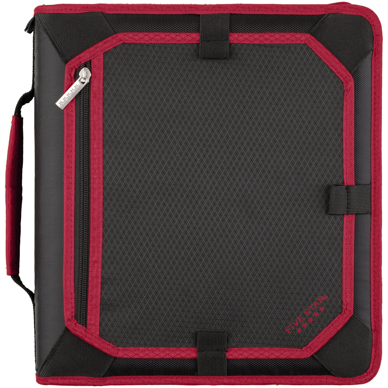 "Five Star 2"" Zipper Binder + Expansion Panel, Black/Red"