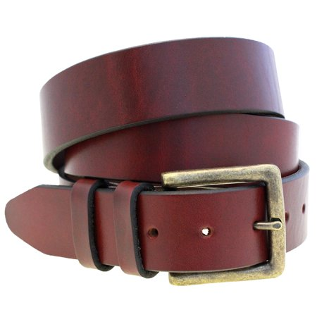 Latigo Leather Tie Down - Mens 1 1/2 Burgundy Latigo Leather Belt Old Brass Buckle Made In USA
