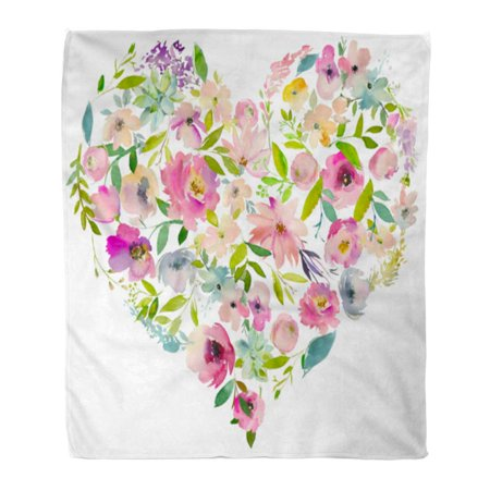 KDAGR Throw Blanket Warm Cozy Print Flannel Watercolor Floral Heart Arrangement Pink Purple Violet Turquoise Roses Peonies Comfortable Soft for Bed Sofa and Couch 50x60 Inches](Purple And Turquoise)