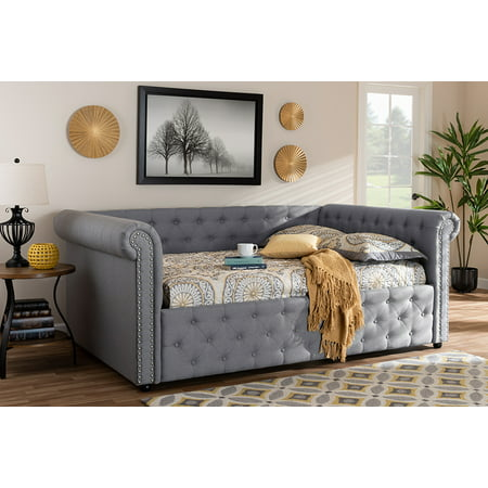 Baxton Studio Mabelle Modern and Contemporary Gray Fabric Upholstered Queen Size Daybed ()