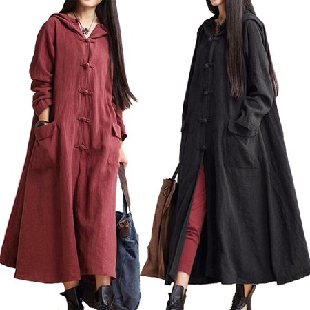 - Women Fashion Casual Pure Cotton&Linen Large Size Long Sleeve Hooded Dress Coat Pocket Jacket Outdoor