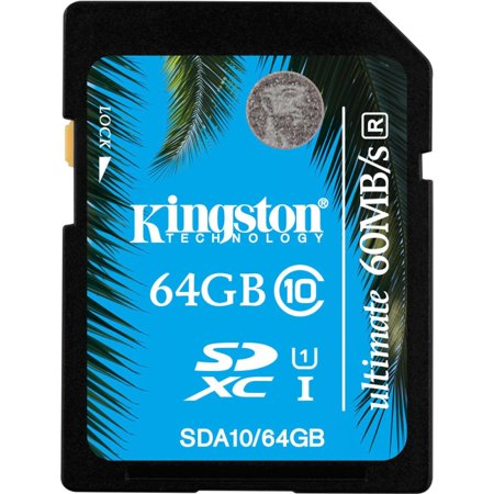 Kingston Ultimate 64 GB SDXC - Class 10/UHS-I - 60 MB/s Read - 35 MB/s Write - 1 Card - 233x Memory Speed