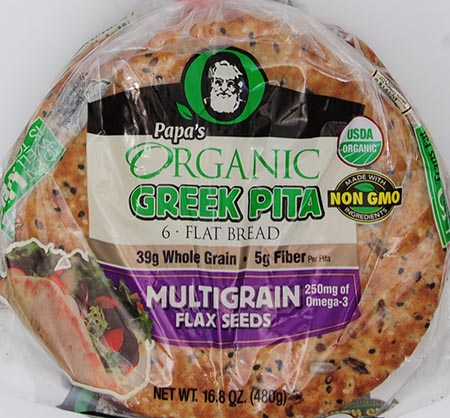 "Papa's Organic, 7"" Greek Pita Flat Bread with Multigrain & Flax Seeds, 6 ct, 16.8 oz"