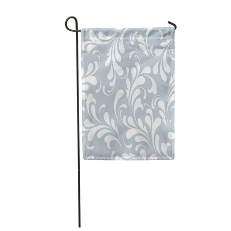 KDAGR Blue Classic Flowers Flowery Curve Endless Ethnic Filigree Flora Garden Flag Decorative Flag House Banner 12x18