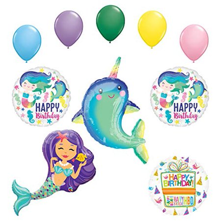 Mayflower Products Narwhal Party Supplies Enchanted Mermaid Birthday Balloon Bouquet Decorations
