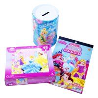 Disney Princess Gift Ideas for Girls / Christmas Goodies (3-pck) Kids Ages 3+ / Disney Stickers, Coin Bank Jar  & Puzzle