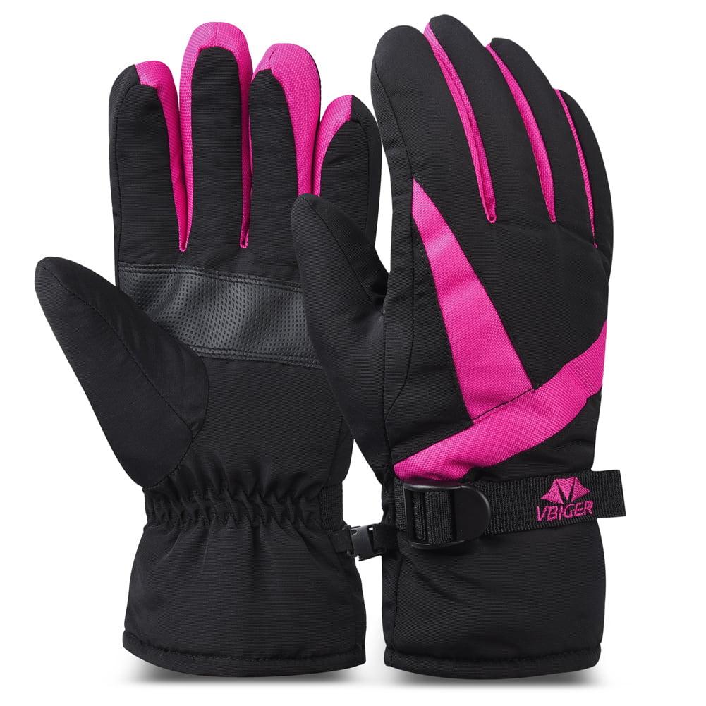 VBIGER Women's Waterproof Cuffed Ski Glove Winter Warm Sports Gloves