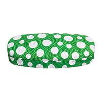 Hard Eyeglass Case, Glasses Holder For Women, Men, Girls, Boys- Polka Dot, Green