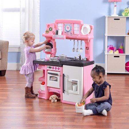 Step2 Coffee Time Kitchen Includes 21 Piece Cook Set Pink And White