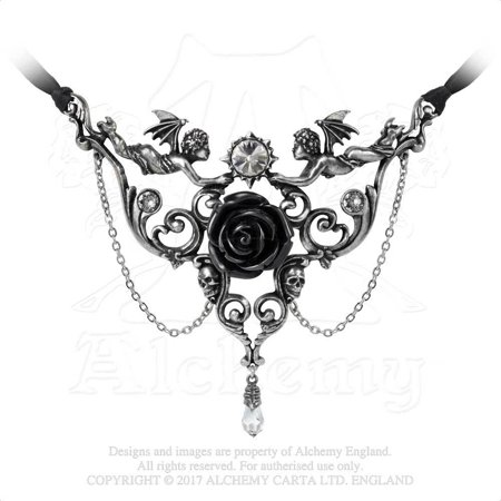 Cherub Babies Black Rose Skull Face Baroque Sweet Death Crystal Gothic (Black Rose Gothic)