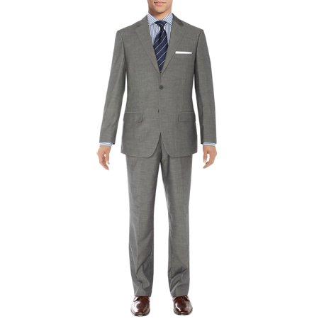 Salvatore Exte Men's Suit Two Button Side Vent Jacket Flat Front Pants Silver Gray