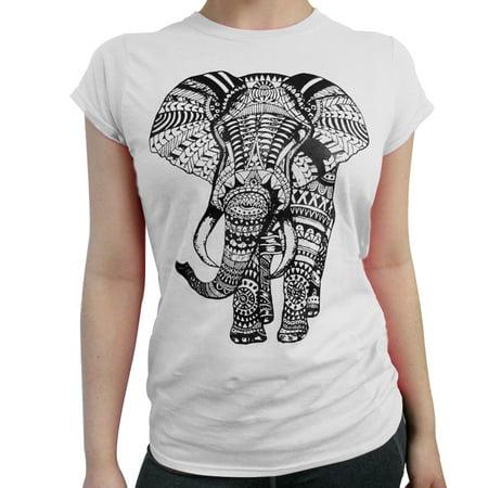 753164ed253f AllTopBargains - Women Elephant T-Shirt Short Sleeve Graphic Tee Mandala  Casual Tank Top S M L XL - Walmart.com
