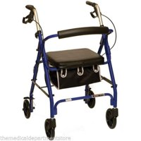 Probasics 4 Four Wheel Rollator Walker with Padded Seat, Blue