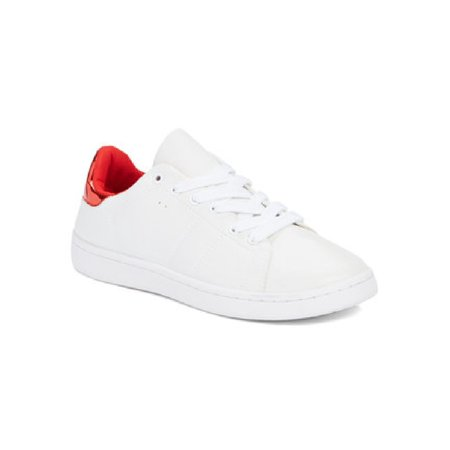 Women White Red Panel Lace Up Stan Sneakers